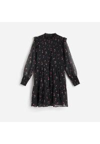 Czarna sukienka Reserved w kwiaty