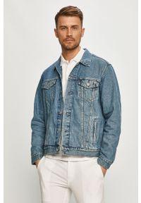 Niebieska kurtka Levi's® na spotkanie biznesowe, gładkie, casualowa