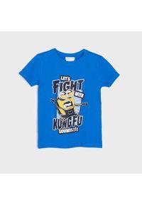 Sinsay - Koszulka Minionki - Niebieski. Kolor: niebieski. Wzór: motyw z bajki
