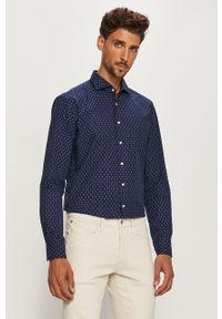 Niebieska koszula Baldessarini elegancka, z włoskim kołnierzykiem, długa