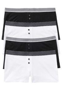 Bokserki damskie (4 pary) bonprix czarno-biały. Kolor: czarny