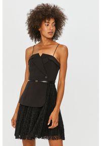 Czarna sukienka Miss Sixty mini, bez ramiączek, klasyczna, z włoskim kołnierzykiem