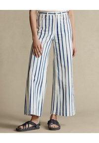 Ralph Lauren - RALPH LAUREN - Bawełniane spodnie w prążki. Kolor: biały. Materiał: bawełna. Wzór: prążki
