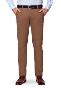 Lancerto - Spodnie Beżowe Chino Paul. Okazja: na co dzień. Kolor: beżowy. Materiał: elastan, tkanina, materiał, bawełna. Wzór: kolorowy. Styl: casual