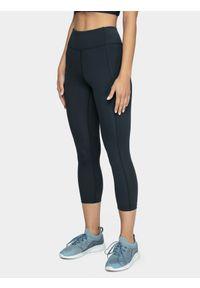 4f - Legginsy treningowe damskie. Stan: podwyższony. Kolor: niebieski. Materiał: dzianina, materiał. Sport: fitness