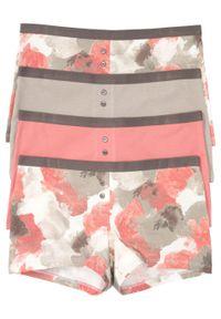 Bokserki damskie (4 pary) bonprix z batikowym nadrukiem + szary + dymny jasnoróżowy. Kolor: biały. Wzór: nadruk