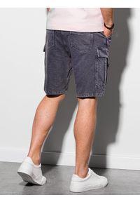 Ombre Clothing - Krótkie spodenki męskie dresowe W292 - grafitowe - XXL. Kolor: szary. Materiał: dresówka. Długość: krótkie