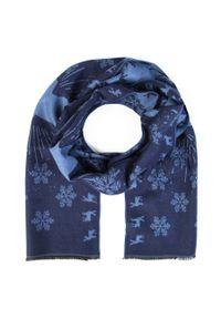 Niebieski szalik Giacomo Conti wizytowy, w kolorowe wzory, na zimę