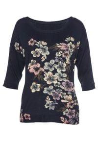 Sweter LENZING™ ECOVERO™ z koronką bonprix ciemnoniebieski w kwiaty. Kolor: niebieski. Materiał: koronka. Wzór: kwiaty, koronka
