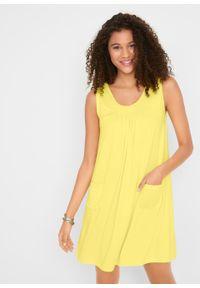 Sukienka z dżerseju z kieszeniami, gładka bonprix Sukienka z dżers j.lim. Kolor: żółty. Materiał: jersey. Wzór: gładki