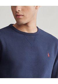 Ralph Lauren - RALPH LAUREN - Granatowa bluza z logo. Typ kołnierza: polo. Kolor: niebieski. Materiał: polar, jeans, bawełna. Długość rękawa: długi rękaw. Długość: długie. Wzór: haft. Styl: elegancki