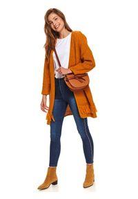 TOP SECRET - Jeansy damskie z ozdobnym lampasem. Okazja: na co dzień. Stan: podwyższony. Kolor: niebieski. Materiał: jeans. Sezon: zima. Styl: klasyczny, casual