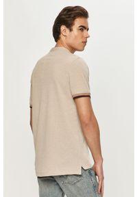 Beżowa koszulka polo PRODUKT by Jack & Jones z nadrukiem, krótka, casualowa, polo