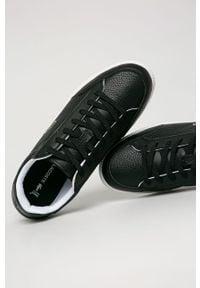 Czarne sneakersy Lacoste na sznurówki, z cholewką
