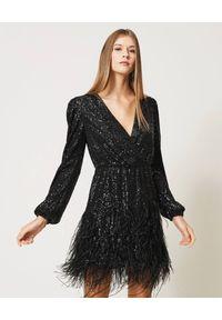 Czarna sukienka mini TwinSet z aplikacjami, glamour