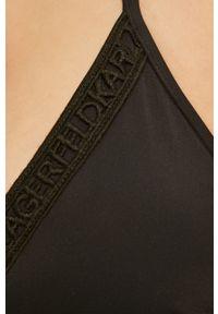 Czarny strój kąpielowy Karl Lagerfeld z odpinanymi ramiączkami, z aplikacjami