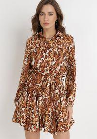 Born2be - Brązowa Sukienka Palile. Kolor: brązowy. Materiał: tkanina, materiał. Wzór: motyw zwierzęcy, aplikacja. Typ sukienki: koszulowe. Długość: mini