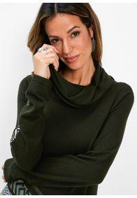 Długi sweter bonprix nocny oliwkowy. Kolor: zielony. Długość: długie