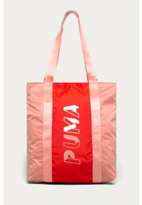 Różowa shopperka Puma z nadrukiem, na ramię, duża