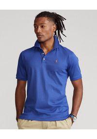 Ralph Lauren - RALPH LAUREN - Granatowa koszulka polo Soft Cotton Custom Slim Fit. Typ kołnierza: polo. Kolor: niebieski. Materiał: bawełna, prążkowany. Wzór: kolorowy