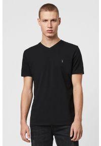 Czarny t-shirt AllSaints casualowy, z aplikacjami