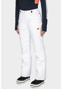 4f - Spodnie narciarskie damskie SPDN004 - biały. Kolor: biały. Materiał: dzianina, materiał. Technologia: Dermizax. Sezon: zima. Sport: narciarstwo