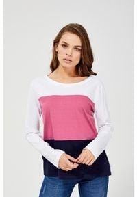 MOODO - Bawełniana bluzka. Materiał: bawełna. Długość rękawa: długi rękaw. Długość: długie. Wzór: paski