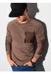 Ombre Clothing - Bluza męska bez kaptura B1151 - brązowa - XXL. Typ kołnierza: bez kaptura. Kolor: brązowy. Materiał: bawełna, jeans, dzianina, materiał, tkanina, poliester