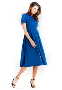 Niebieska sukienka wizytowa Awama z krótkim rękawem, elegancka
