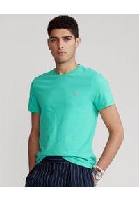Ralph Lauren - RALPH LAUREN - Zielony t-shirt męski Custom Slim Fit. Typ kołnierza: polo. Kolor: zielony. Materiał: bawełna. Wzór: haft