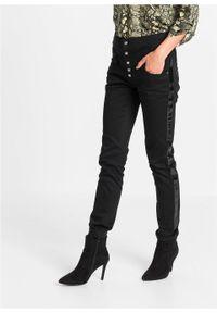 Czarne spodnie bonprix długie, z aplikacjami