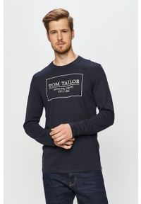 Niebieska koszulka z długim rękawem Tom Tailor Denim z okrągłym kołnierzem, z nadrukiem