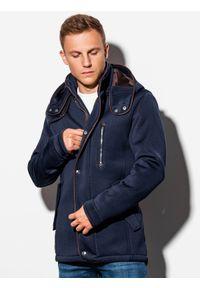 Niebieski płaszcz Ombre Clothing z kapturem