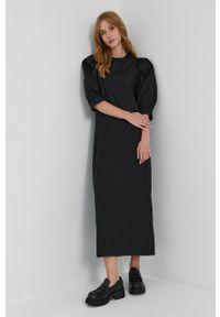 Samsoe & Samsoe - Samsoe Samsoe - Sukienka. Okazja: na co dzień. Kolor: czarny. Materiał: bawełna, tkanina. Długość rękawa: krótki rękaw. Typ sukienki: proste. Styl: casual