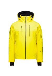 Żółta kurtka narciarska Descente z kontrastowym kołnierzykiem, Thinsulate