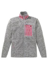 Bluza rozpinana z polaru w ludowym stylu bonprix jasnoszary melanż. Kolor: szary. Materiał: polar. Wzór: melanż