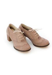 Zapato - sznurowane półbuty na 6 cm słupku - skóra naturalna - model 251 - kolor cappuccino. Materiał: skóra. Obcas: na słupku