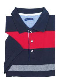 Lanieri Fashion - Granatowa męska koszulka polo w czerwono-białe paski KP16. Typ kołnierza: polo. Kolor: niebieski, biały, wielokolorowy, czerwony. Materiał: bawełna, materiał. Długość: krótkie. Wzór: paski