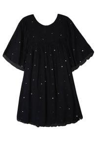TOP SECRET - Sukienka damska z błyszczącą aplikacją. Kolor: czarny. Materiał: tkanina. Długość rękawa: krótki rękaw. Wzór: aplikacja. Sezon: lato, wiosna