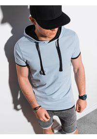 Ombre Clothing - T-shirt męski z kapturem bez nadruku S1376 - jasnoniebieski - XXL. Okazja: na co dzień. Typ kołnierza: kaptur. Kolor: niebieski. Materiał: bawełna, jersey, dzianina. Styl: klasyczny, casual