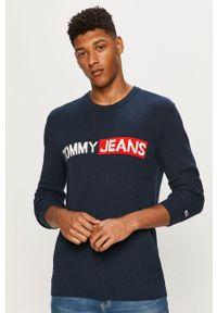 Niebieski sweter Tommy Jeans z długim rękawem, długi