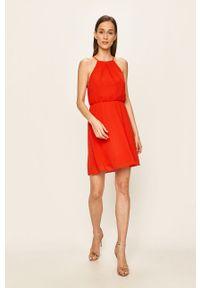Czerwona sukienka Vila casualowa, rozkloszowana, mini, na ramiączkach
