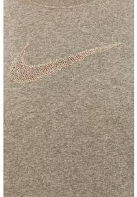 Nike - Bluza. Kolor: szary. Długość rękawa: długi rękaw. Długość: długie. Wzór: aplikacja