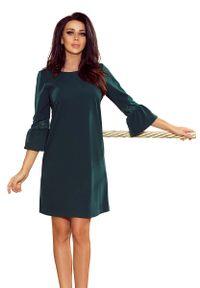 Numoco - Zielona Sukienka Wizytowa z Koronką na Rękawie. Kolor: zielony. Materiał: koronka. Wzór: koronka. Styl: wizytowy