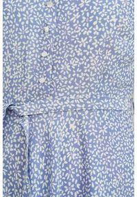 Marie Zélie - Sukienka Rosa Vacanza błękitna. Typ kołnierza: kokarda. Kolor: niebieski. Materiał: skóra, bawełna, wiskoza, materiał. Długość rękawa: krótki rękaw. Długość: midi