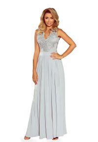 Srebrna sukienka Numoco wizytowa, w koronkowe wzory, maxi