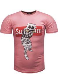 Różowy t-shirt z nadrukiem Recea casualowy, na co dzień
