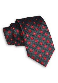 Alties - Ciemny Zielony Elegancki Męski Krawat -ALTIES- 7 cm, Klasyczny, w Czerwone Kwiatki. Kolor: czerwony. Materiał: tkanina. Wzór: kwiaty. Styl: klasyczny, elegancki