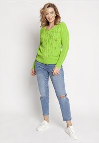 MKM - Krótki Rozpinany Kardigan z Ażurem - Zielony. Kolor: zielony. Materiał: bawełna, akryl. Długość: krótkie. Wzór: ażurowy