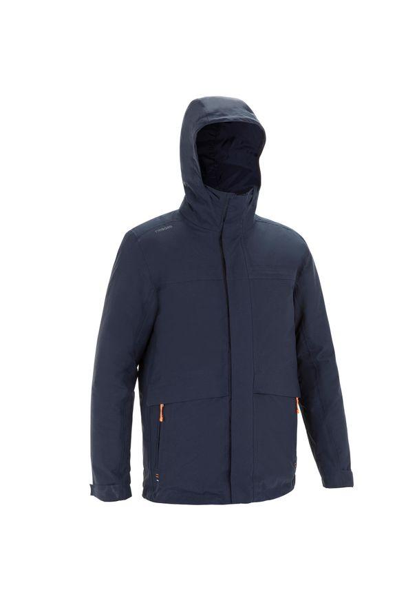 TRIBORD - Ciepła kurtka żeglarska 100 męska. Kolor: niebieski. Materiał: tkanina, mikrofibra, polar, materiał. Długość: długie. Sport: żeglarstwo